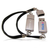 Azionamento dell'istantaneo del USB del braccialetto, cuoio e materiale del metallo