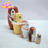 Personalizar la muñeca rusa Matryoshka perro de madera para niños W06D096