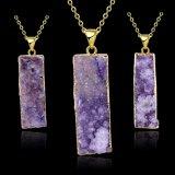 Gouden Halsband van de Tegenhanger van het Kristal van de Rechthoek Purplre van de Juwelen van de manier de Natuurlijke
