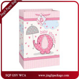 2017 bolsas de papel florales del portador de los bolsos de compras del regalo con la maneta de la cinta del satén