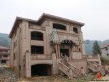 Roter Granit-Architekturgebäude, das für Landhaus-Projekt formt