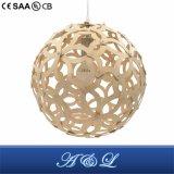 Lampe pendante de type en bois modèle de bille de créateur