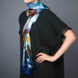 100% Streifen-Silk Digital-Druck-Handgerollter quadratischer Schal