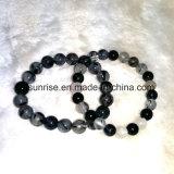 Moda Gemstone Crystal Black Rultilated Quartz Beaded Bracelet Jóias