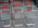 Carro da cesta de fio do supermercado, carros da conveniência, carros de compra