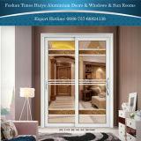 Puerta deslizante colgante del nuevo del diseño de la capa doble aluminio interior de cristal decorativo del panel