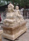 Sculpture en pierre en marbre de statue de jardin avec la pierre découpée (SY-X1118)