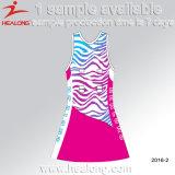 Sublimation feito sob encomenda algum projeto do vestido do Netball das mulheres do logotipo