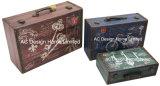 S/3 Doos van de Koffer van de Opslag van de Druk Pu Leather/MDF van het Ontwerp van de Auto van de Decoratie de Antieke Uitstekende Houten