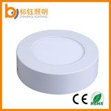 O diodo emissor de luz 6W redondo da lâmpada magro Ultrathin da fonte da fábrica apainela para baixo a luz de teto