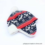 POM POM 모자 베레모 모자 자카드 직물 모자에 의하여 뜨개질을 하는 모자