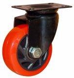 4/5 Zoll-mittleres schweres Rot PU-Schwenker-Fußrollen-Rad mit E-Beschichtung Halter