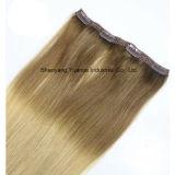 Clip de Rubio Cabello chino brasileño/Extensión de cabello virgen