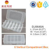 Caixa de plástico de 6 compartimentos verticais