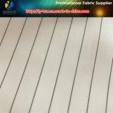 Tela branca barata do forro da luva na listra tingida fio do poliéster para o vestuário (S120.124)