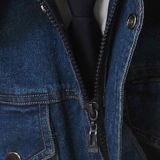 O OEM projeta seus próprios macacões da segurança de Jean azul para homens, macacões feitos sob encomenda China do Workwear