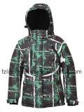 女性の冬はパッドを入れられた上着類のスキージャケットを印刷した