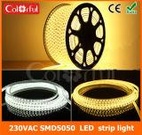 高い明るさAC230V SMD5050 5025 LEDのストリップ