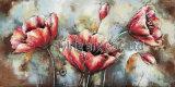 décor de mur de peinture en métal 3D pour la fleur rouge