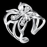 Anillos abiertos de Woemn de la manera del diamante del anillo de la mariposa del Zircon
