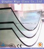 Refoulées en verre trempé avec bords polis pour Frameless balustrade en verre
