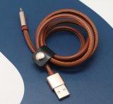 3.3 pies de 5V 2A de cuero de la PU cubrieron el cable del teléfono de 8 Pin para el teléfono de Samsung del iPhone