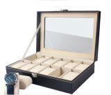 Casella di memoria di legno della visualizzazione della cassa da imballaggio della vigilanza del MDF del cuoio di lusso per la vigilanza di ceramica della vigilanza elettronica elettronica del tester (91)