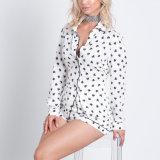 Form-Frauen-Freizeit-beiläufige gedruckte zweiteilige Shirt-Bluse