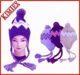 男女兼用のアクリルの編むジャカード折り返しの爆撃機の帽子