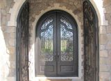 Aço moderno Design Grill entrada principal porta de ferro forjado