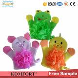 Pig Animial Finger Hand Puppet Gant de nettoyage de bain pour bébé