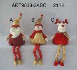 Spring Legged Santa e Snowman Sitter Holiday Decoration Brinquedos, 3 Decoração Asst-Christmas