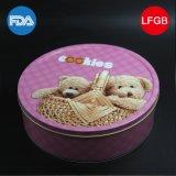 Круглая коробка олова шаржа плюшевого медвежонка/коробка металла (R005-V7)