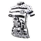 Rapidi esterni di riciclaggio di sport respirabile del pullover delle donne di riciclaggio delle camice breve del manicotto nero & bianco si asciugano