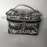 PVC&のナイロンは女性の化粧品袋のための構成のハンドバッグをセットする