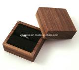 カスタム固体クルミの黒いビロードのライニングが付いているリングのための木製の宝石箱
