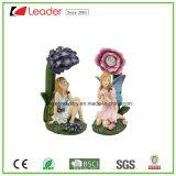 Figurinha de fadas Polyresin com ornamento de luz solar para decoração de casa e jardim