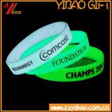 Resplandor de alta calidad en la oscuridad luminosa pulsera de silicona, pulsera de silicona, Goma, la promoción de la muñequera muñequera (XY-BR-027)