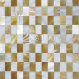 Shell de agua dulce y azulejo de mosaico amarillo del shell de la fregona del labio