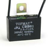 Condensador Cbb61 de la película del polipropileno de Topmay 550VAC Metallzied para el acondicionador de aire