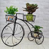 ホームデコレーション自転車家の庭の装飾アイアン工場では、ヴィンテージなパリスタイルの三輪車3ティアホワイトメタルプランターディスプレイスタンド/フラワーポットホルダー/プラントラックスタンド
