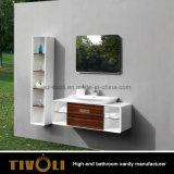 Gabinete de banheiro barato em MDF para pintura branca com bacia de cerâmica (V003)