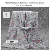 100%のViscoseの漫画のかわいいScarfフクロウによって印刷されるショールの方法女性