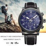 Montre analogique de Mens de montre-bracelet de sport de chronographe avec Leather72198 véritable