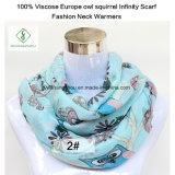 100%ビスコースヨーロッパのフクロウのリスの無限スカーフの方法首のウォーマー