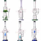 Pipes en verre matérielles de recycleur colorées par recycleur en gros de conduites d'eau de Borosilicate de matrice de Waterpipe d'engine de Hbking Digital