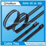 Polyester deckte Strichleiter-multi Widerhaken Selbst-Verschluss Edelstahl-Kabelbinder in der Marine ab