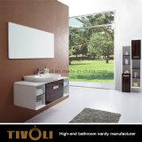 Preiswerter MDF-weißer Farbanstrich-Badezimmer-Schrank mit keramischem Bassin (V003)