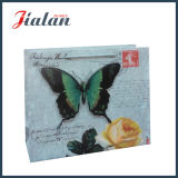 Штейновый прокатанный мешок подарка покупкы бабочки бумаги цвета слоновой кости 3D бумажный