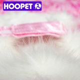 Moda Vestidos de Faux Fur White Dog com Fita Cor-de-rosa